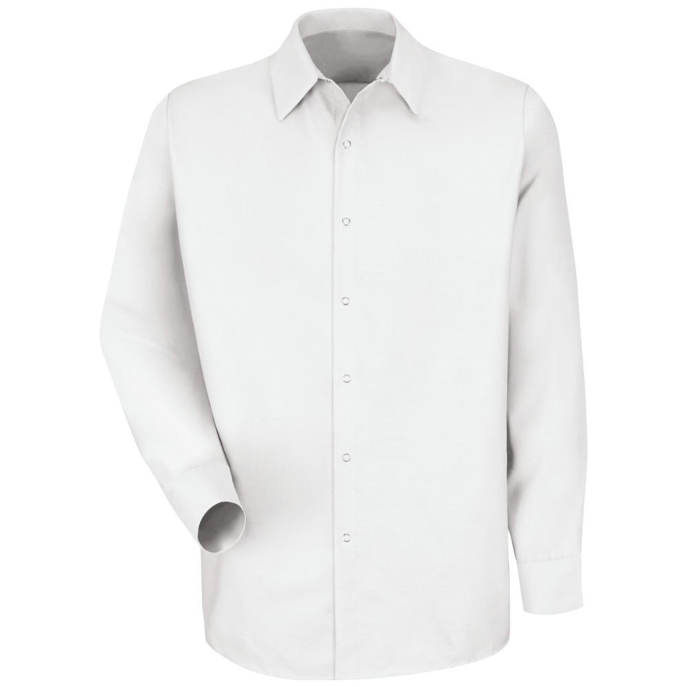 Men's Size L (Tall) White Specialized Pocketless Work Shirt
