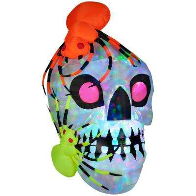 45.28 in. W x 48.03 in. D x 72.05 in. H Inflatable Light Show Skull with Spiders - Kaleidoscope
