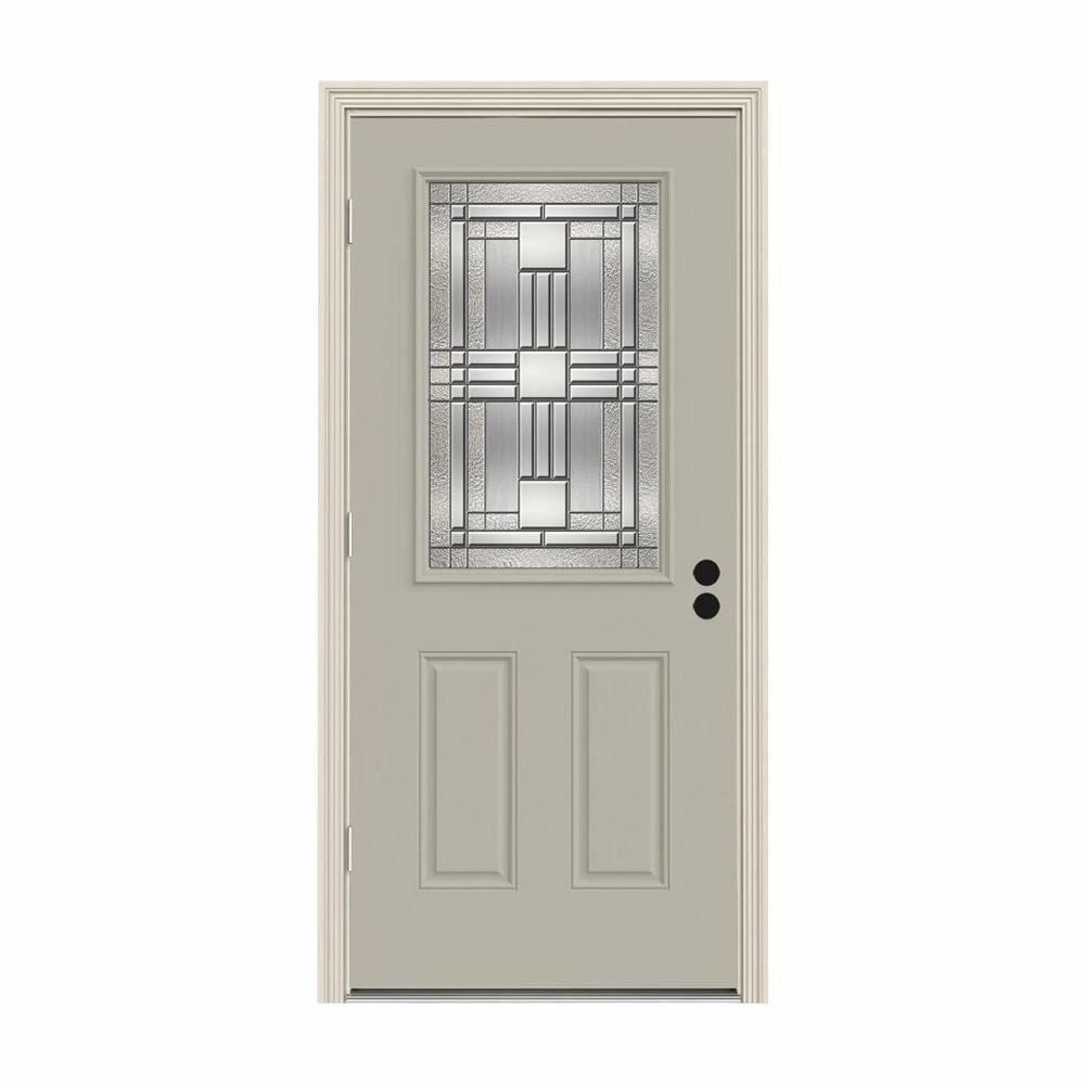JELD-WEN 32 in. x 80 in. 1/2 Lite Cordova Desert Sand Painted Steel Prehung Right-Hand Outswing Front Door w/Brickmould