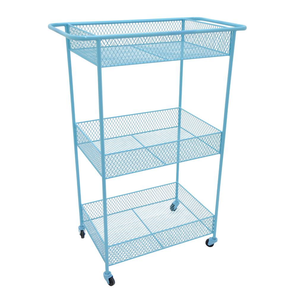 14.75 in. x 26 in. 3-Tier Storage Rack in Blue