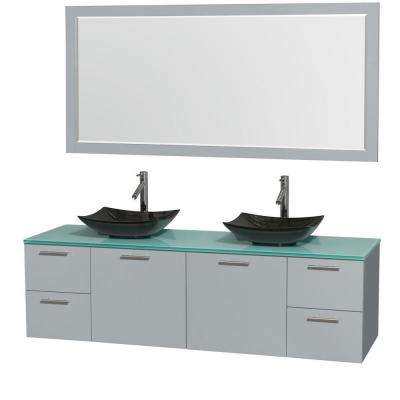 Amare 72 in. W x 22.25 in. D Vanity in Dove Gray with Glass Vanity Top in Green with Black Basins and 70 in. Mirror