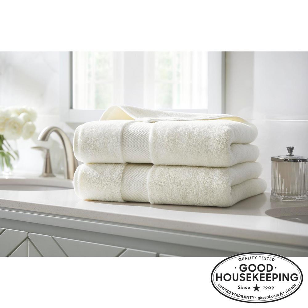 Plush Soft Cotton Bath Towel in Ivory (Set of 2)