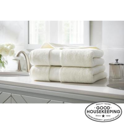 Plush Soft Cotton Bath Towel in Ivory (Set of 2)