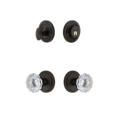 Circulaire Rosette 2-3/8 in. Backset Timeless Bronze Fontainebleau Crystal Door Knob with Single Cylinder Deadbolt