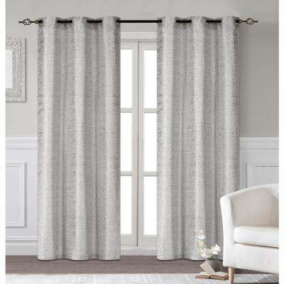 Glamour 38 in. W x 96 in. L Extra Long Polyester Window Panel Pair in Silver (2-Pack)
