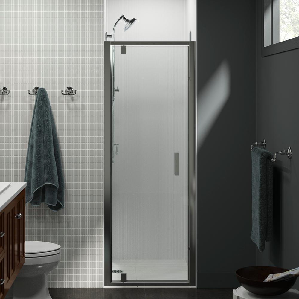 Kohler Aerie 30 In X 75 In Frameless Pivot Shower Door In Bright