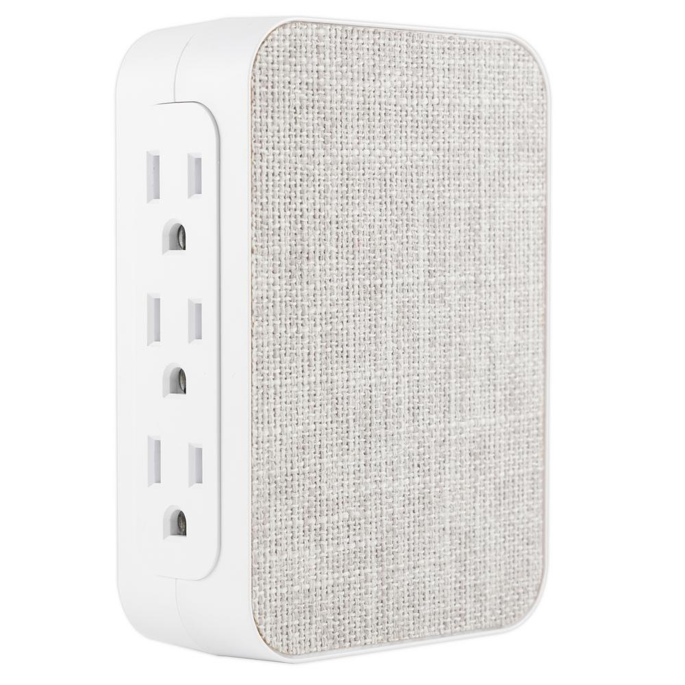 GE 6-Outlet Side Access Surge Protector Wall Tap with Fabric Cover