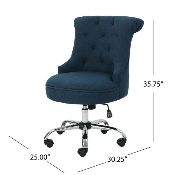 Noble House Auden Tufted Back Navy Blue Fabric Home Office Desk Chair 40960 The Home Depot