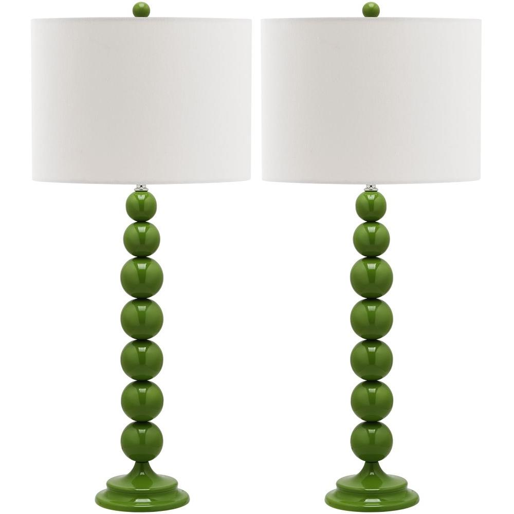 Fern Green Stacked Ball Lamp (Set Of 2)