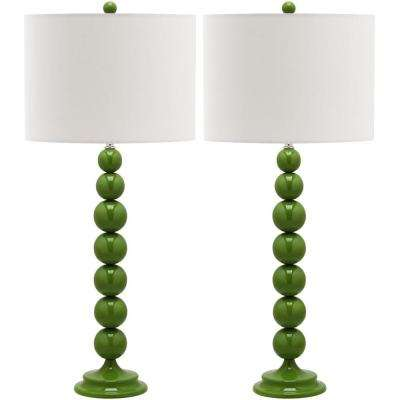 Jenna 31 in. Fern Green Stacked Ball Lamp (Set of 2)