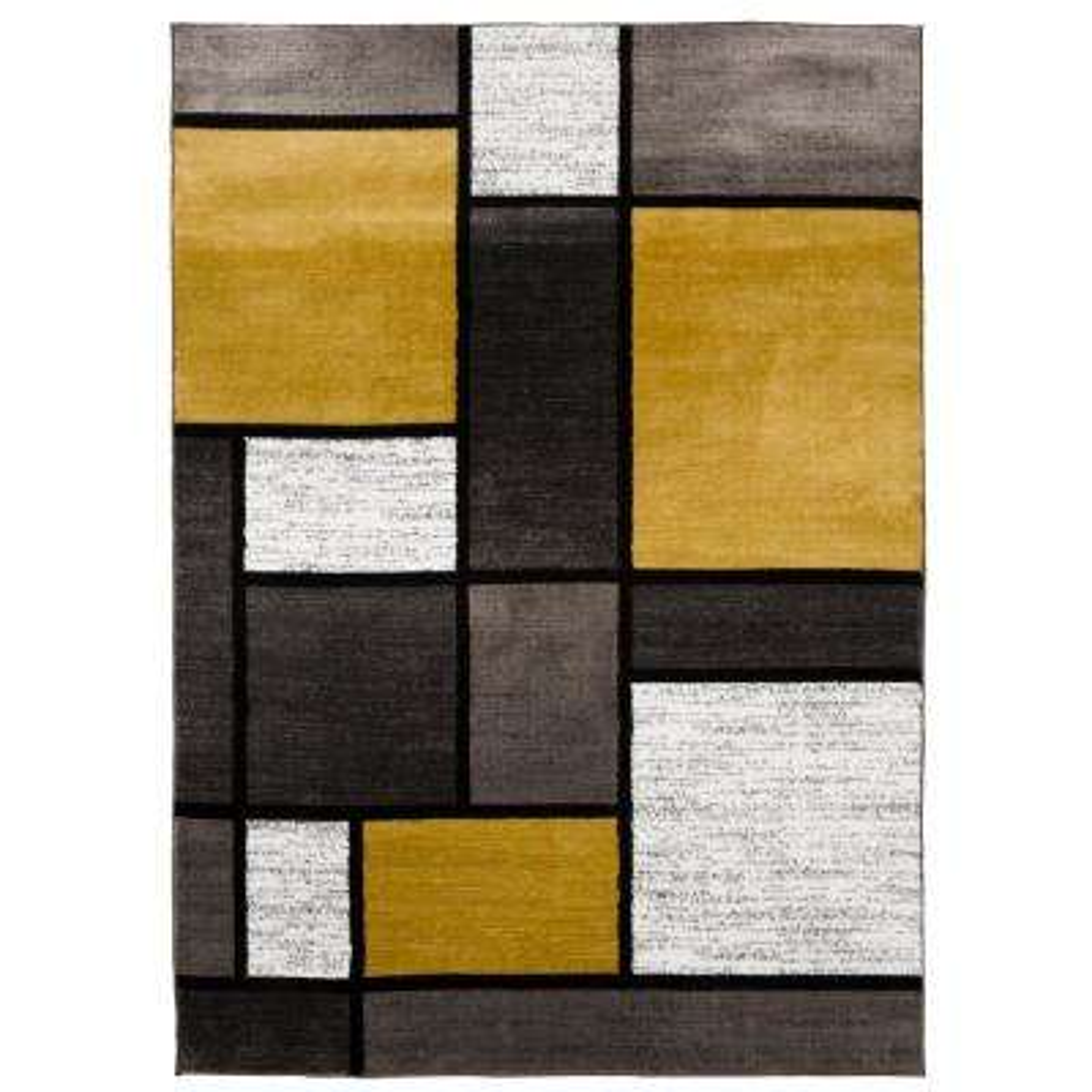 "Contemporary Modern Boxes Gray Yellow Area Rug 7' 10""x10' 2"""