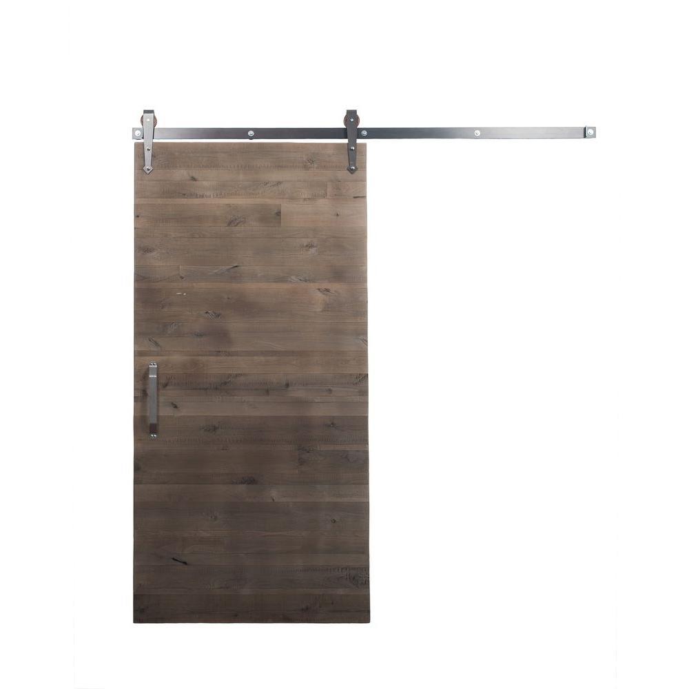 42 in. x 84 in. Rustica Reclaimed Home Depot Gray Wood Barn Door with Arrow Sliding Door Hardware Kit