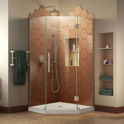 Prism Plus 42 in. x 42 in. Frameless Hinged Neo-Angle Shower Enclosure in Brushed Nickel and Neo-Angle Shower Base