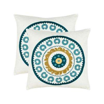 18 in. Square Sunder Pillow in White (Set of 2)