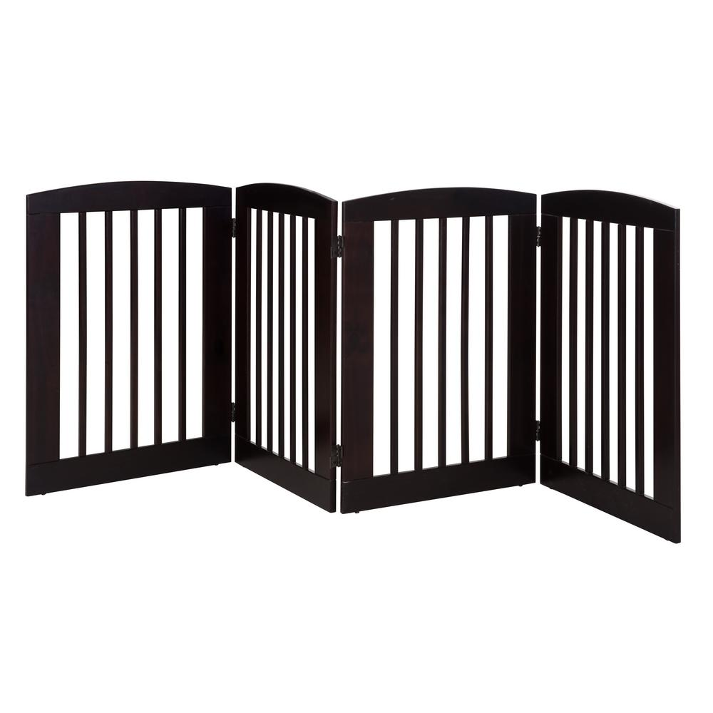 Ruffluv 36 in. H Wood 4-Panel Expansion Cappuccino Pet Gate