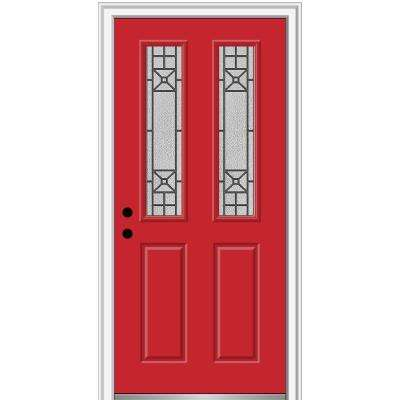 30 in. x 80 in. Courtyard Right-Hand 2-Lite Decorative Painted Fiberglass Smooth Prehung Front Door, 4-9/16 in. Frame