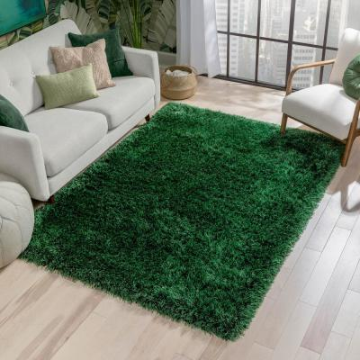 Kuki Chie Glam Solid Textured Ultra-Soft Green 7 ft. 10 in. x 9 ft. 10 in. 2-Tone Shag Area Rug