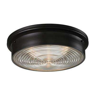 3-Light Oiled Bronze Ceiling Flushmount