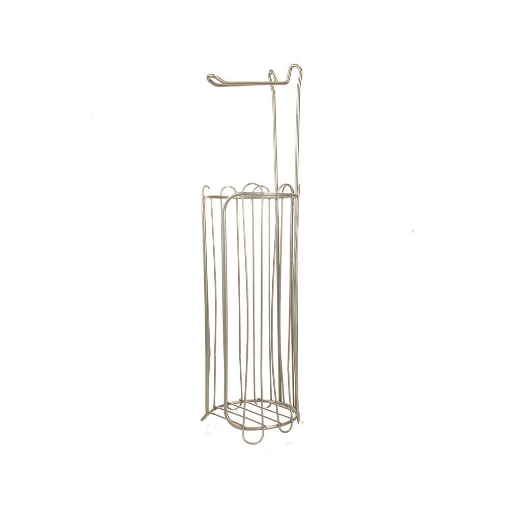 Home Basics Freestanding Toilet Paper Holder in Satin Nickel