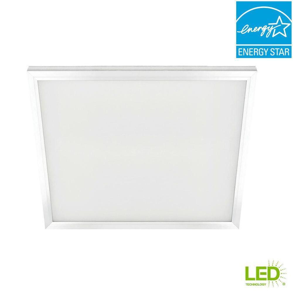 2 ft. x 2 ft. 47-Watt White Integrated LED Edge-Lit Flat Panel T-Bar Grid Troffer Recessed/Flushmount