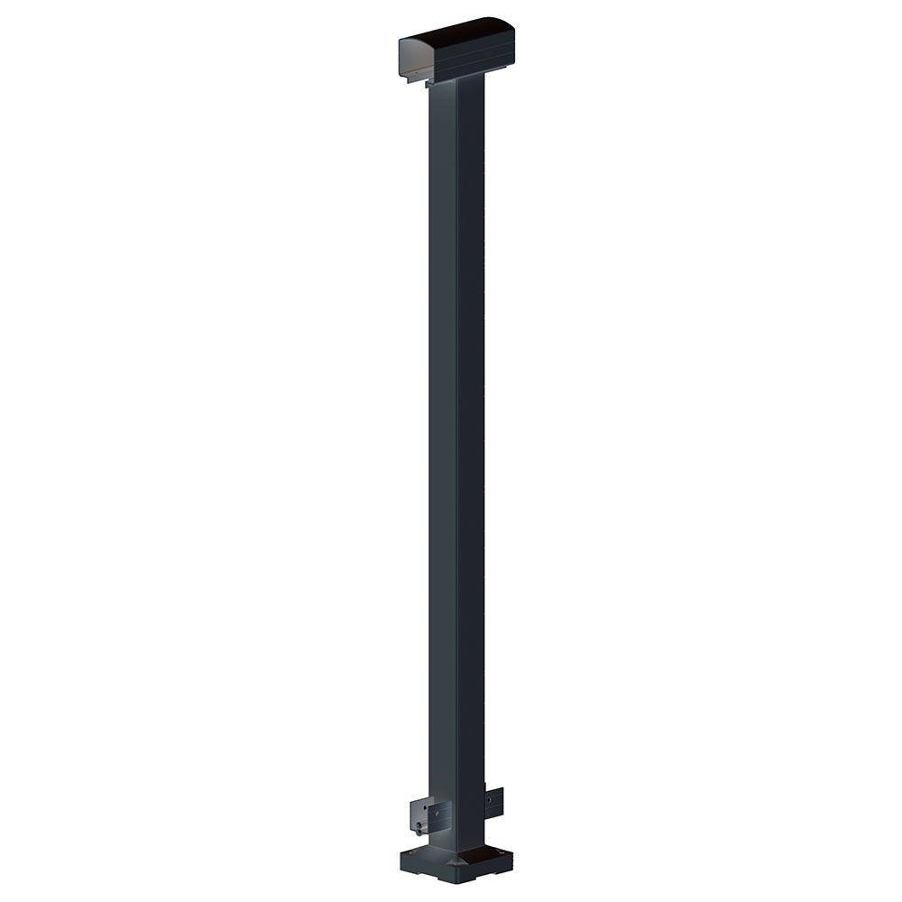 2 in. x 2 in. x 42 in. Black Aluminum Mid Post