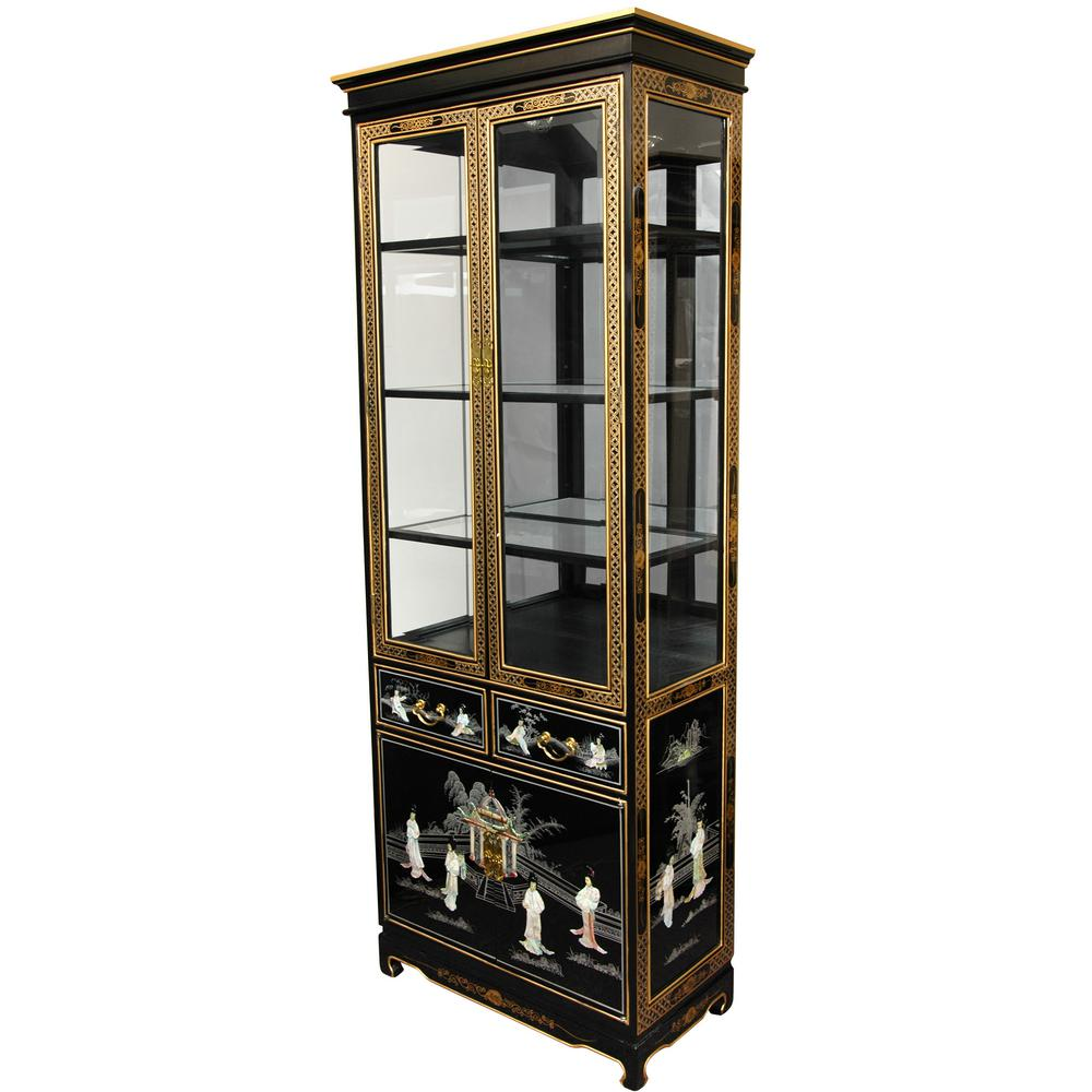 Oriental Furniture Black Mother Of Pearl Las Lacquer Curio Cabinet Lcq Lgcur Bml The Home Depot