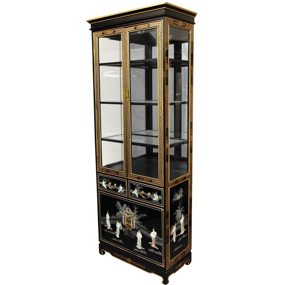 Oriental Furniture Black Mother Of Pearl Las Lacquer Curio Cabinet