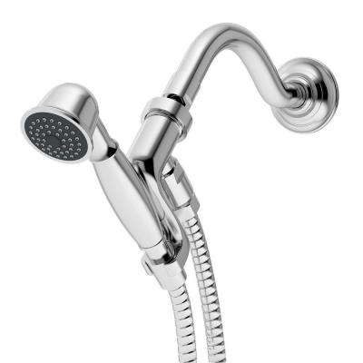 1-Spray 3 in. Single Wall Mount Handheld Shower Head in Chrome