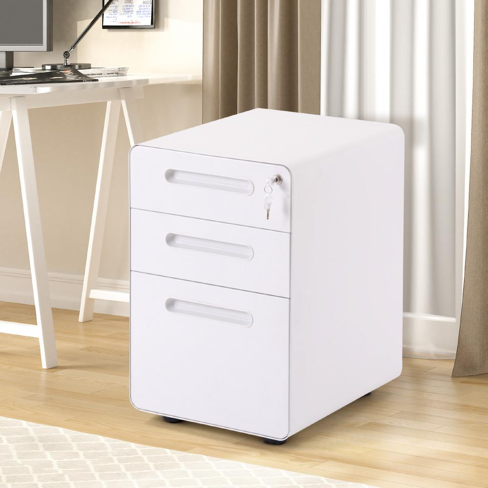 Merax White File Cabinet With Lock Fully Embled Except