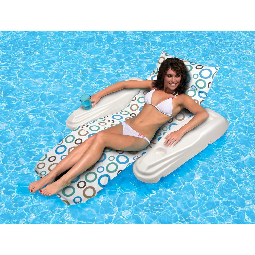 Poolmaster Vinyl Rio Sun Adjustable Reclining Chaise Pool Float, Multicolor
