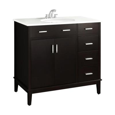 Rockport 36 in. Bath Vanity in Tobacco with Engineered Quartz Marble Vanity Top in White with White Basin