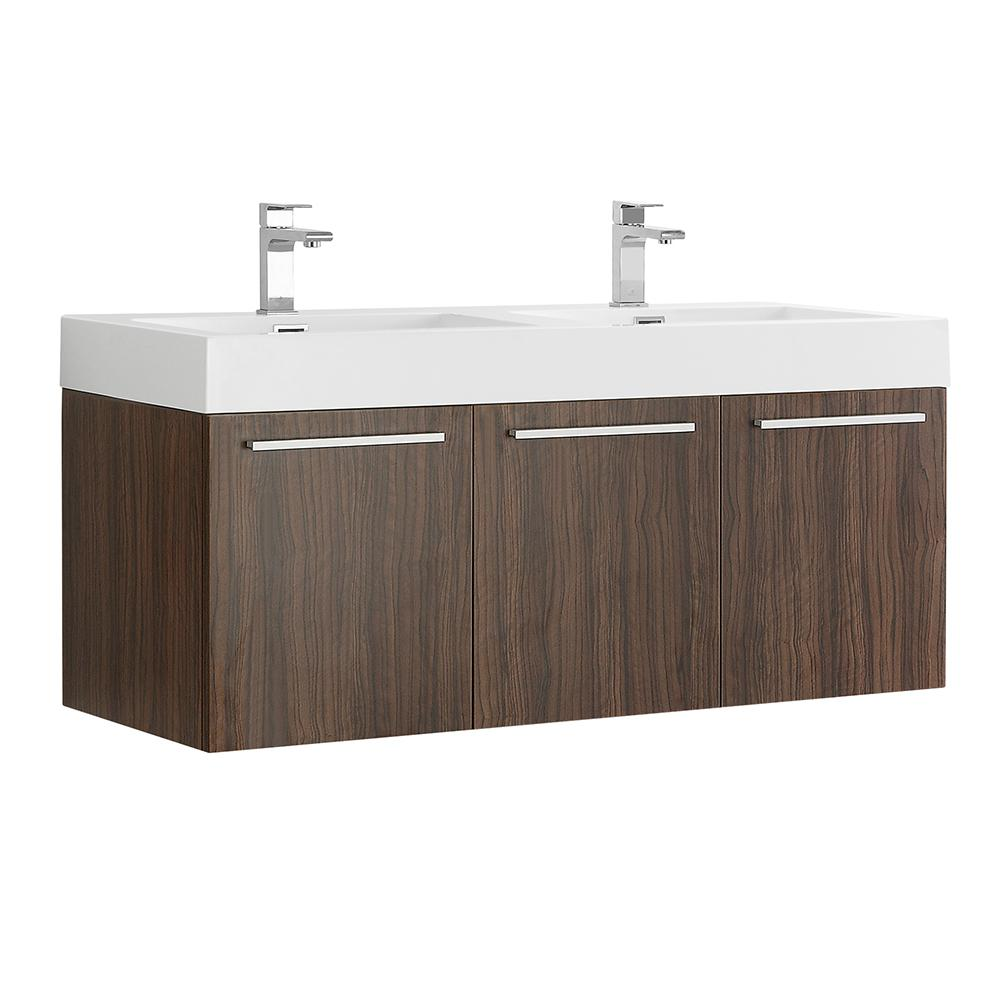 Fresca Vista 48 in. Modern Wall Hung Bath Vanity in Walnut with Double Vanity Top in White with White Basins