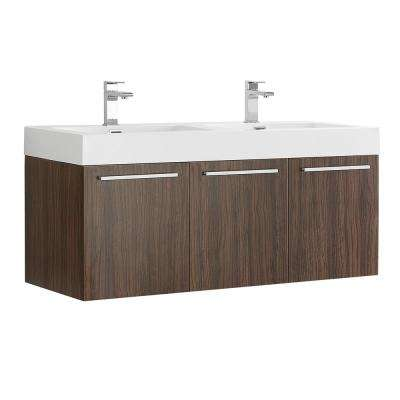Vista 48 in. Modern Wall Hung Bath Vanity in Walnut with Double Vanity Top in White with White Basins