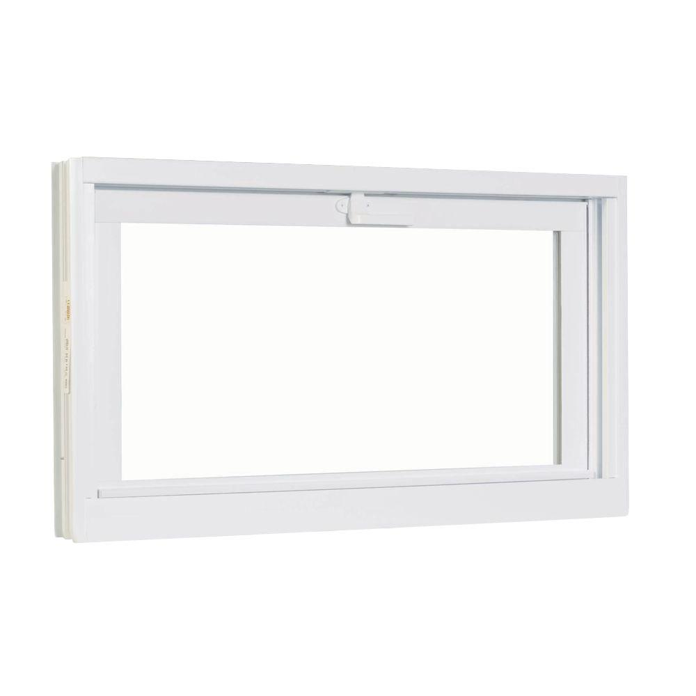 American Craftsman 30.75 in. x 22.75 in.  White Hopper Basement Vinyl Window
