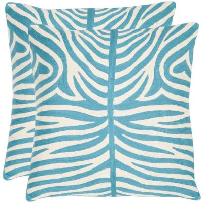 Sierra Chainstitch Blue Ra Animal Print Down Alternative 22 in. x 22 in. Throw Pillow (Set of 2)