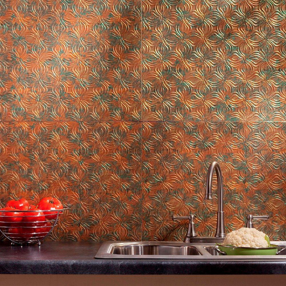 Fasade 24 in. x 18 in. Lotus PVC Decorative Tile Backsplash in Copper Fantasy