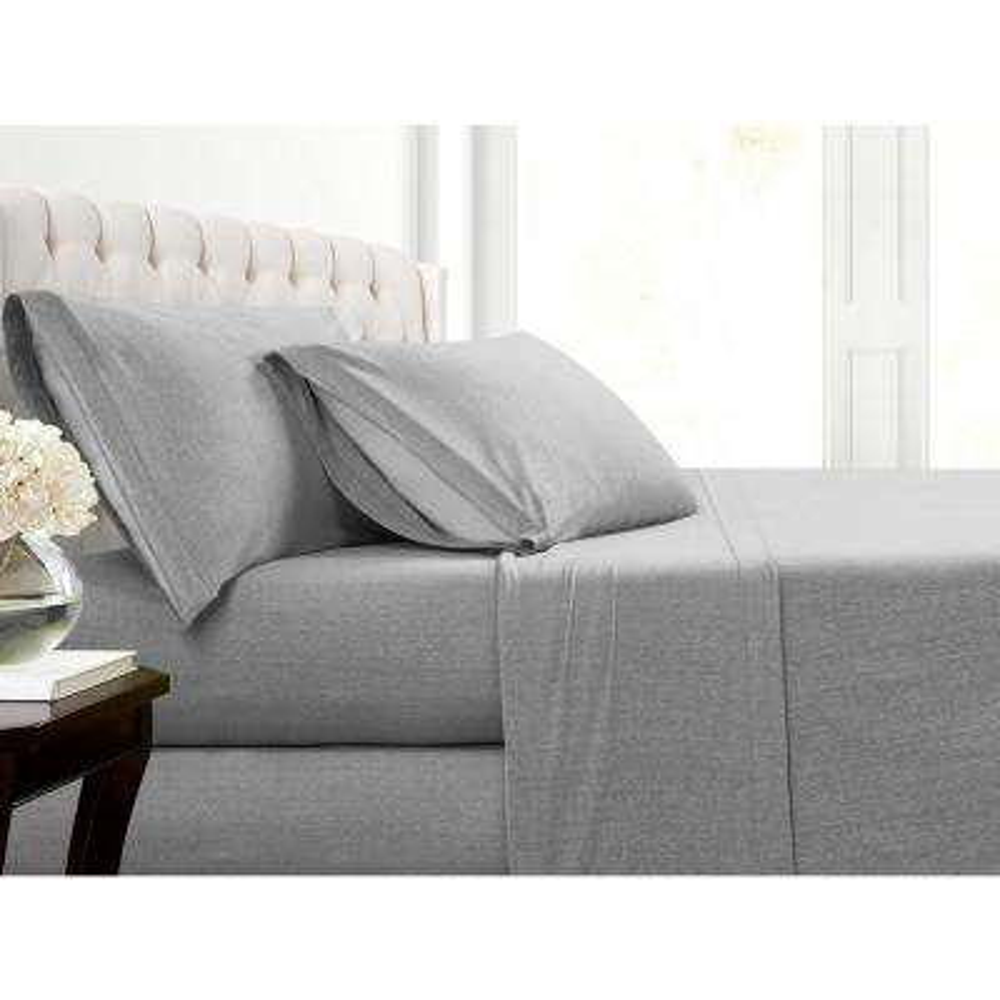 Heather Jersey 2-Piece Grey Solid Twin Sheet Set