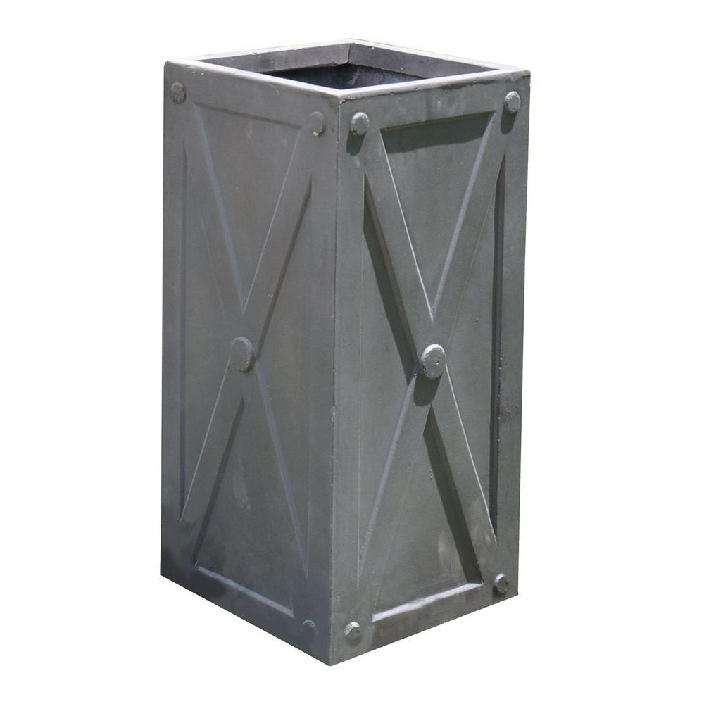 Napa 27 in X Frame Antique Grey Tall Cube FiberClay Planter