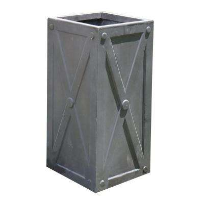 27 in. X Frame Antique Grey Tall Cube Fiber-Clay Planter