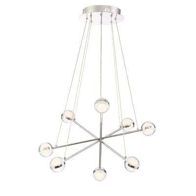 Lazio Collection 48-Watt Chrome Integrated LED Chandelier with Clear Glass Shade