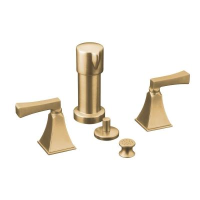 Memoirs 2-Handle Bidet Faucet in Vibrant Brushed Bronze with Stately Design and Deco Lever Handles