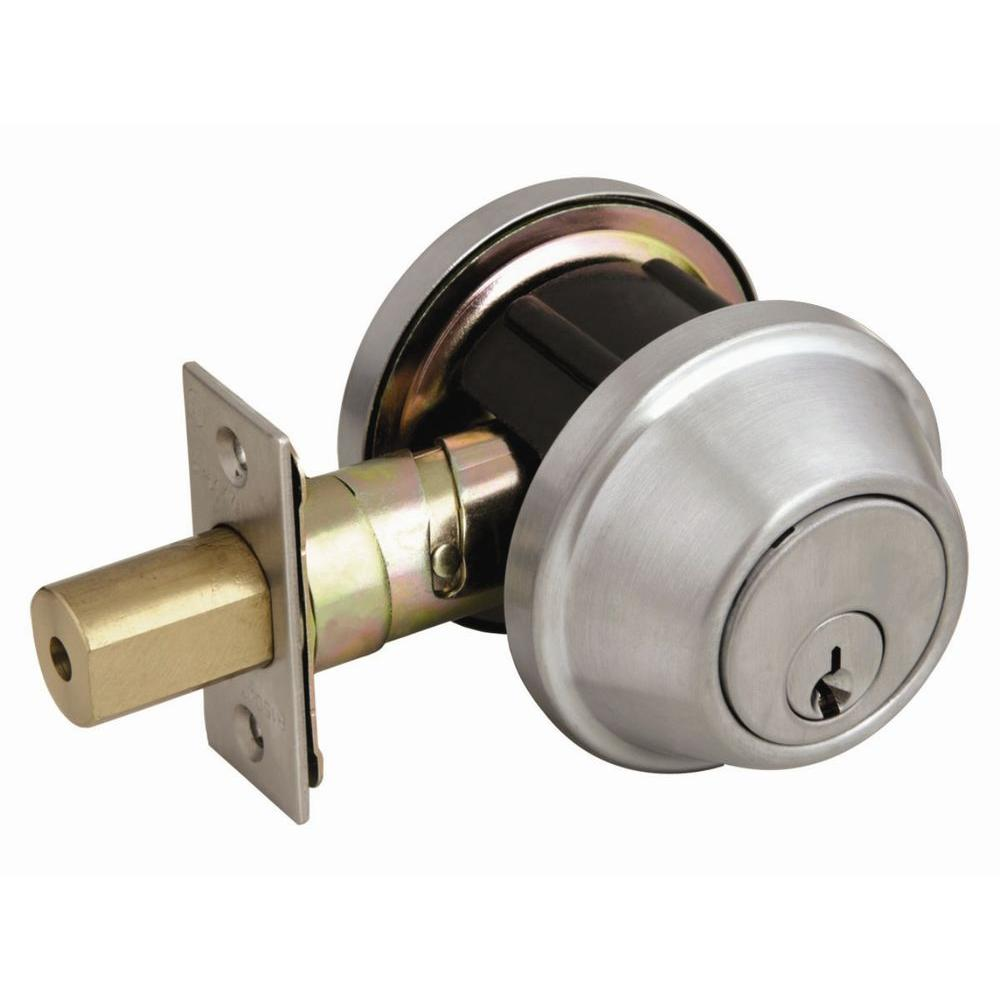 Design House Commercial Series Single Cylinder Satin Chrome Deadbolt