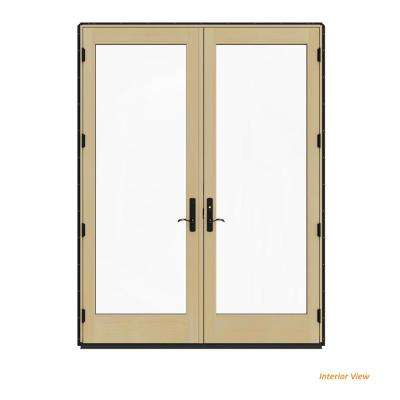 72 in. x 96 in. W-4500 Contemporary Black Clad Wood Left-Hand Full Lite French Patio Door w/Lacquered Interior