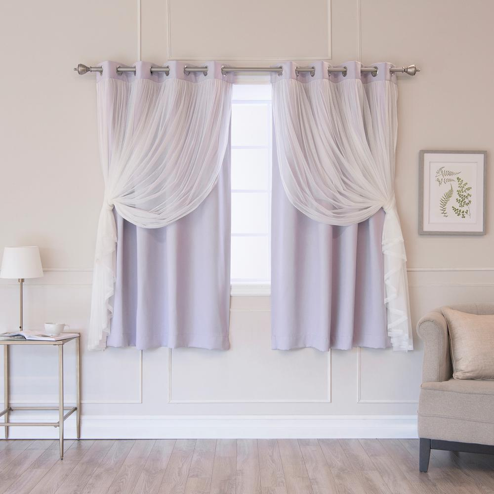 Best Home Fashion Lilac 63 in. L Marry Me Lace Overlay Blackout Curtain Panel (2-Pack)