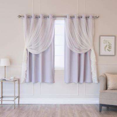 Lilac 63 in. L Marry Me Lace Overlay Blackout Curtain Panel (2-Pack)