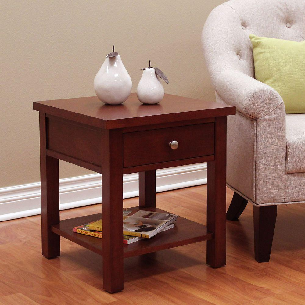 DonnieAnn Oakdale Cherry End Table The Home Depot