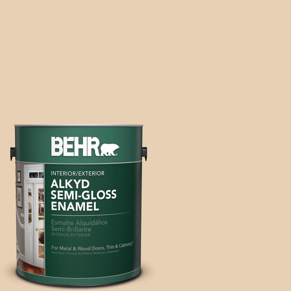 1 gal. #S290-2 White Bean Hummus Semi-Gloss Enamel Alkyd Interior/Exterior Paint