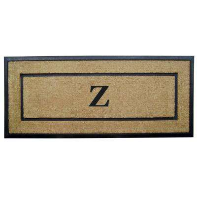 DirtBuster Single Picture Frame Black 24 in. x 57 in. Coir with Rubber Border Monogrammed Z Door Mat