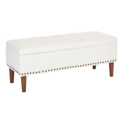 Bryant Linen Fabric with Coffee Tapered Legs and Antique Bronze Nailheads Bench