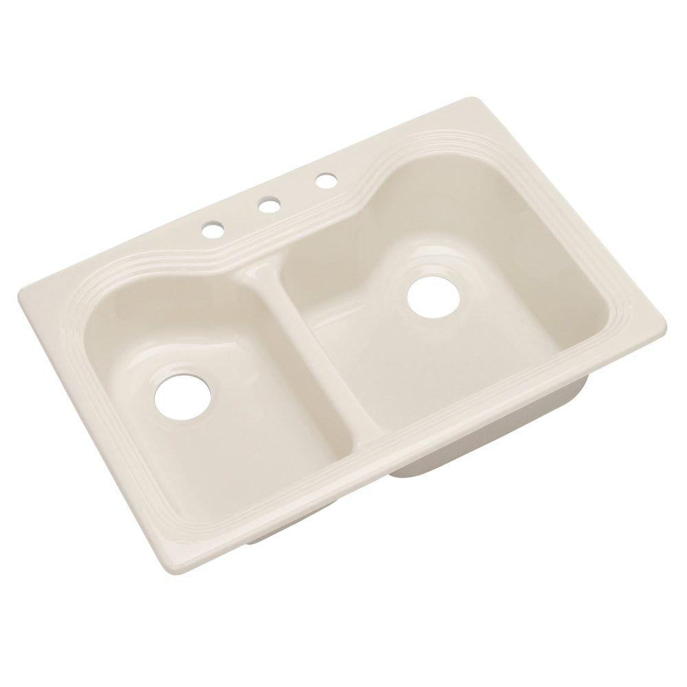 Breckenridge Drop-In Acrylic 33 in. 3-Hole Double Bowl Kitchen Sink in